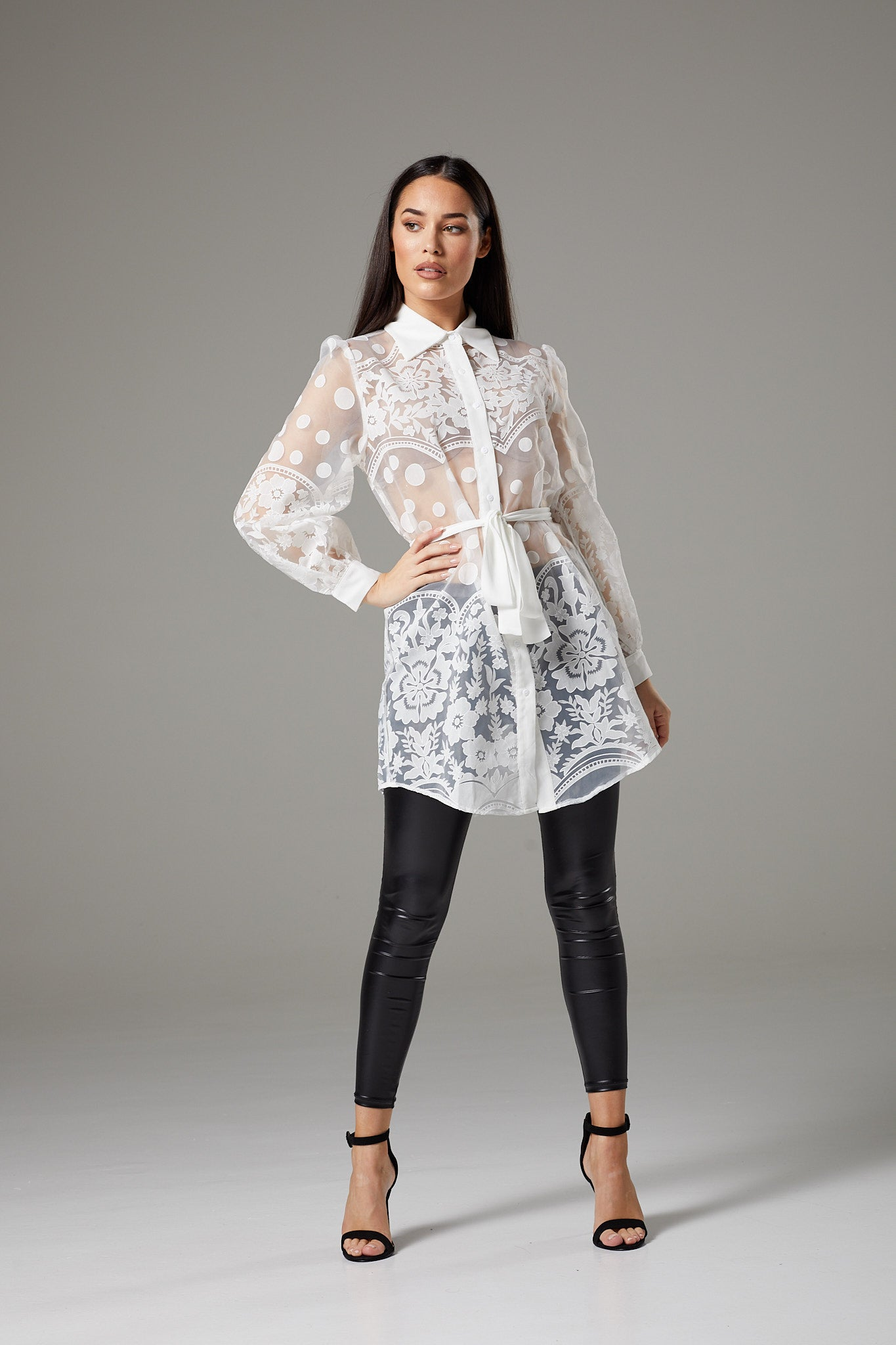 White Lace Wide Sleeve Tunic