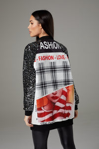 Oversized Sequin Sleeve Graphic Fashion Jacket