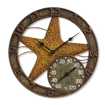 "14"" Starfish Clock w Thermomet"
