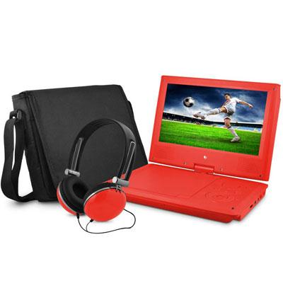 "9"" DVD Player Bundle Red"