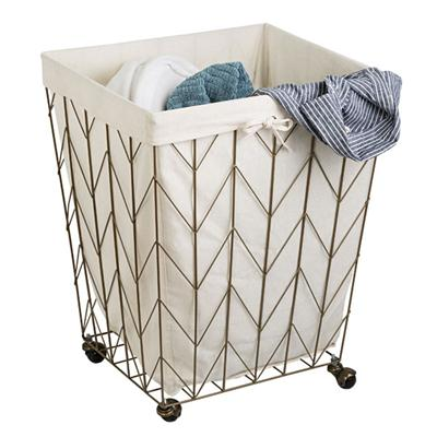 Chevron Wire Hamper Bronze