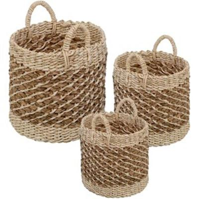 Tea Stained Woven Basket 3Pc