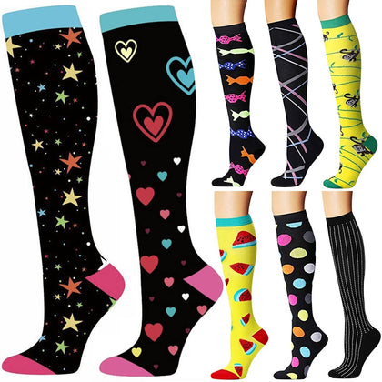 Quality 40 Unisex Compression Stockings Cycling Socks Fit For Edema, Diabetes, Varicose Veins, Running Marathon Socks