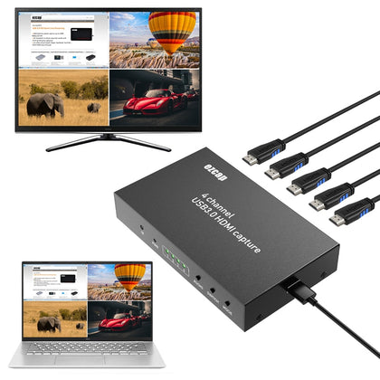 HD 1080P 60FPS 4 Channels Display Multiviewer Switch USB 3.0 HDMI Video Capture Card