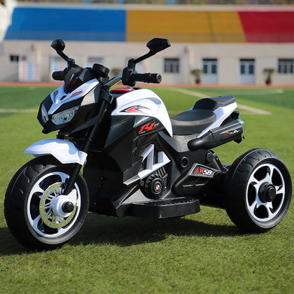 Children's electric motorcycle three-wheeled double-drive toy motorcycle