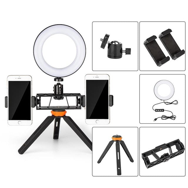 LED Selfie Ring Lamp with Selfie Stick