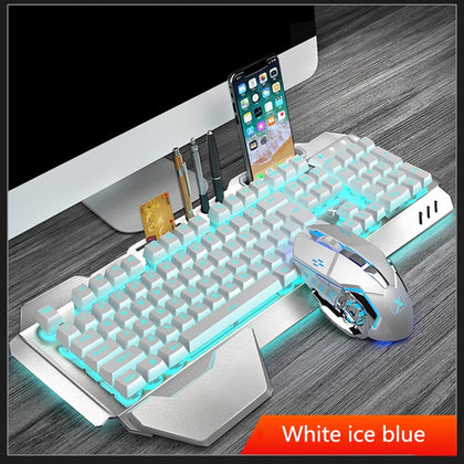 Wireless Gaming Keyboard and Mouse Backlight Metal Panel