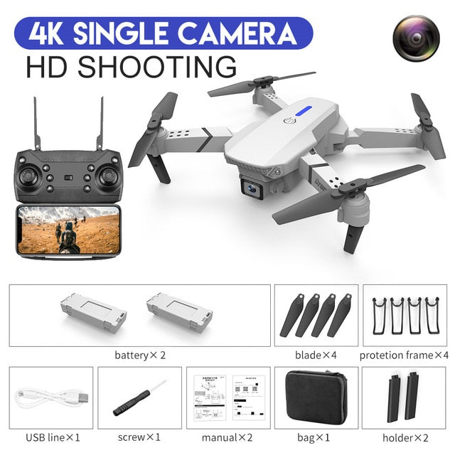 E88 RC Drone With Wide Angle HD 4K 1080P Wifi Fpv Dual Camera