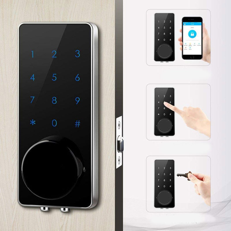 APP Bluetooth Door Lock Smart Lock Smart Electronic Door Lock Keyless Touch Screen Mechanical Keys Auto Lock For Home Hotel