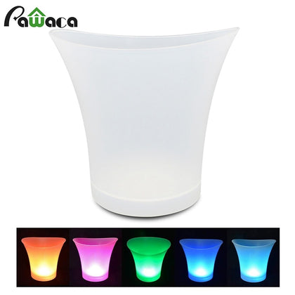 Colorful LED Ice Bucket 5L Large Capacity Wine Cooler