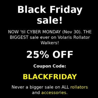 Black Friday Sale on Rollator Accessories