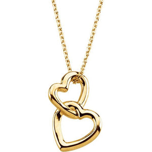 14 Karat Yellow Gold Double Heart Necklace