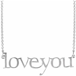 "14 Karat White Gold ""Love You"" Necklace"