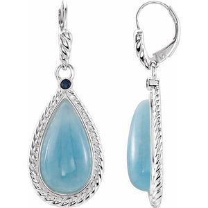 Sterling Silver Milky Aquamarine and Blue Sapphire Earrings