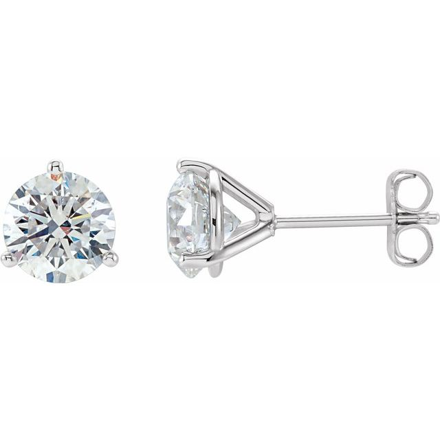 14 Karat White Gold Round 3-Prong Martini Style Diamond Stud Earrings