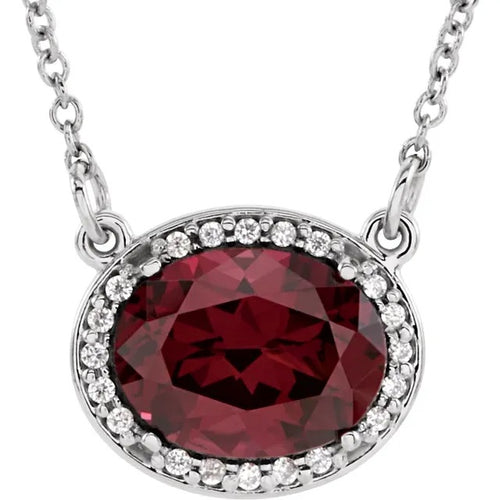 14 Karat White Gold Rhodolite Garnet and Diamond Halo-Style Necklace
