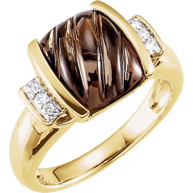 14 Karat Yellow Gold Smoky Quartz and Diamond Ring