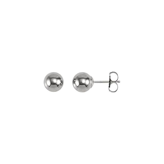 14 Karat White Gold Ball Earrings