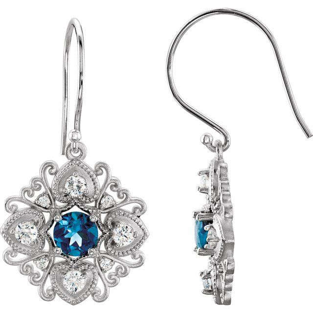 14 Karat White Gold Vintage-Inspired London Blue Topaz and Diamond Earrings