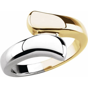14 Karat White and Yellow Gold Bypass Ring