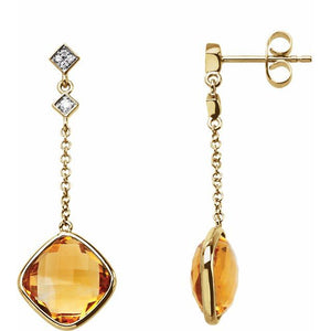 14 Karat Yellow Gold Citrine and Diamond Drop Earrings