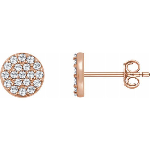 14 Karat Rose Gold Diamond Cluster Earrings