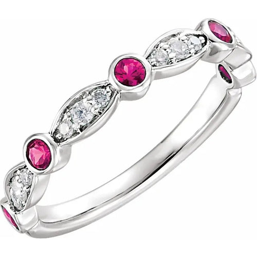 14 Karat White Gold Ruby and Diamond Ring
