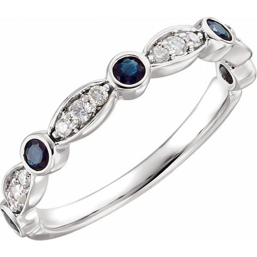 14 Karat White Gold Blue Sapphire and Diamond Stackable Ring