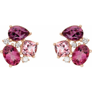 14 Karat Rose Gold Pink Multi-Gemstone and Diamond Earrings