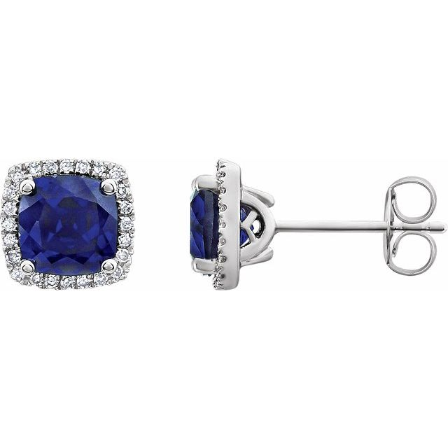 14 Karat White Gold Created Blue Sapphire and Diamond Earrings