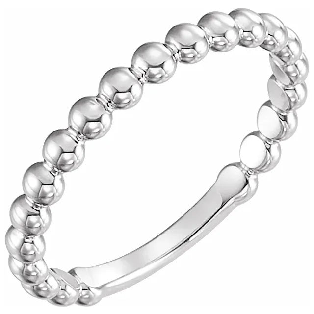 14 Karat White Gold Beaded Stackable Ring