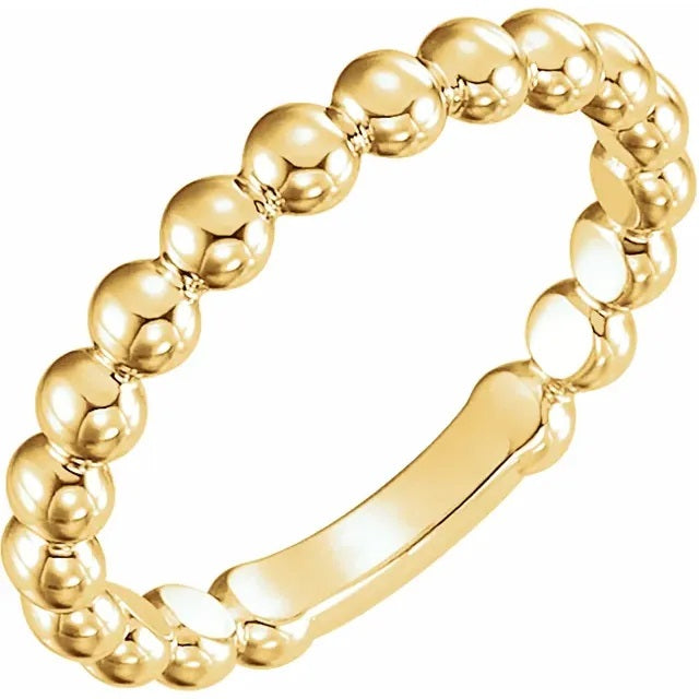 14 Karat Yellow Gold Beaded Stackable Ring