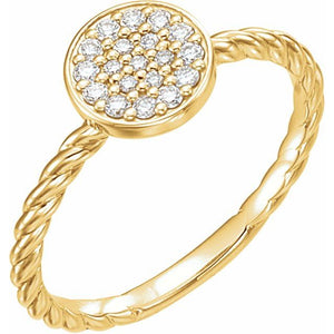 14 Karat Yellow Gold Diamond Cluster Rope Ring
