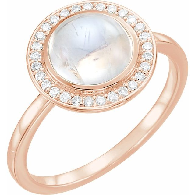 14 Karat Rose Gold Rainbow Moonstone and Diamond Ring