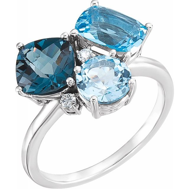 14 Karat White Gold Blue Topaz and Diamond Ring