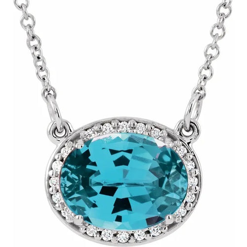 14 Karat White Gold Swiss Blue Topaz and Diamond Necklace