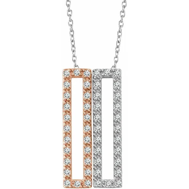 14 Karat White and Rose Gold Diamond Rectangle Necklace