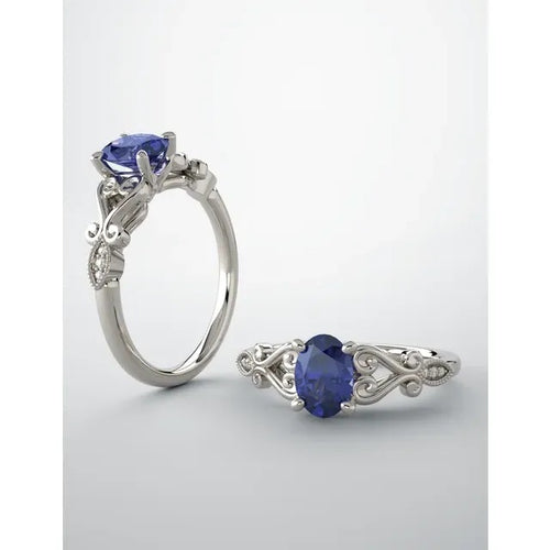 14 Karat White Gold Chatham Created Blue Sapphire and Diamond Ring