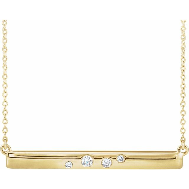 14 Karat Yellow Gold Diamond Bar Necklace