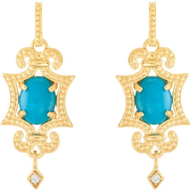 14 Karat Yellow Gold Cabochon Turquoise and Diamond Earrings
