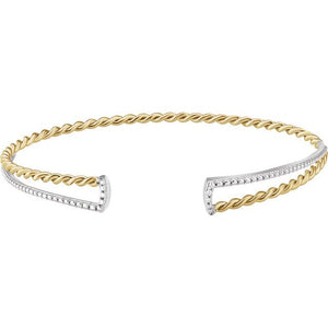 14 Karat White and Yellow Gold Twisted Rope and Beaded Cuff Bracelet