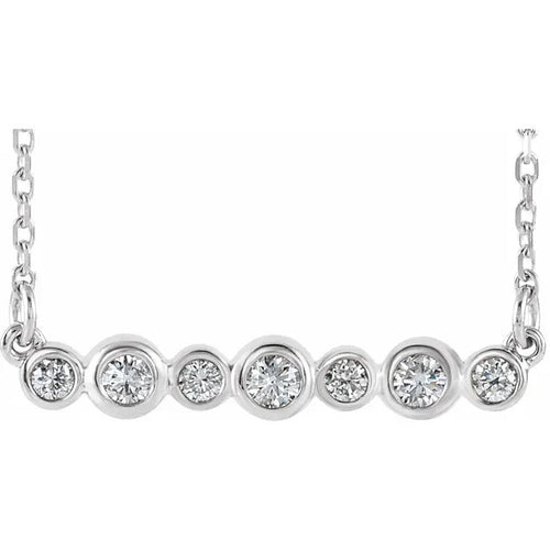 14 Karat White Gold Bezel-Set Diamond Bar Necklace