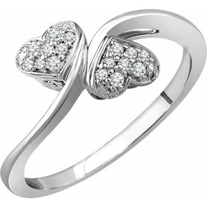 10 Karat White Gold Diamond Heart Promise Ring