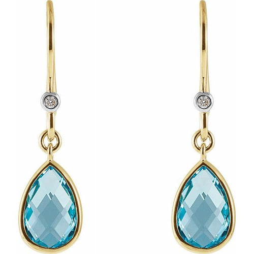 14 Karat Yellow Gold Swiss Blue Topaz and Diamond Earrings