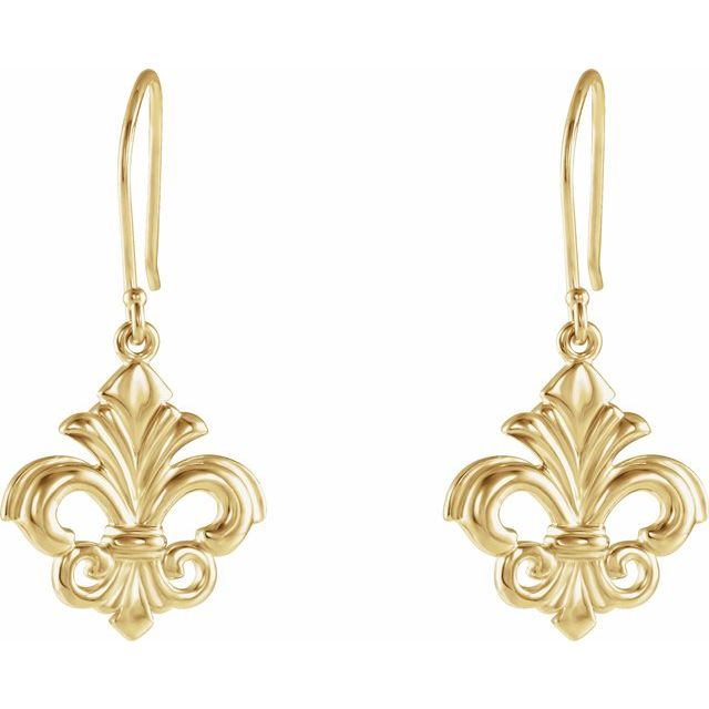 14 Karat Yellow Gold Fleur-de-Lis Dangle Earrings