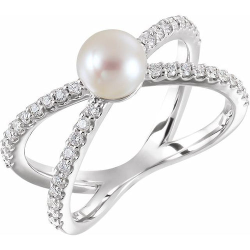 14 Karat White Gold Freshwater Cultured Pearl and Diamond Negative Space Ring