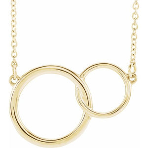 14 Karat Yellow Gold Interlocking Circle Necklace