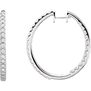 14 Karat White Gold Inside Outside Diamond Hoop Earrings