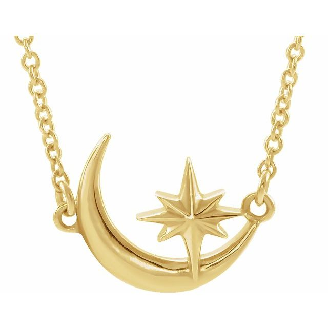 14 Karat Yellow Gold Crescent Moon & Star Necklace