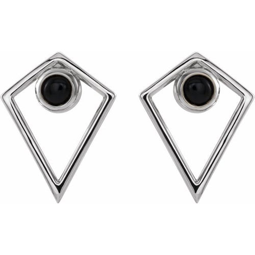 14 Karat White Gold Cabochon Onyx Pyramid Earrings